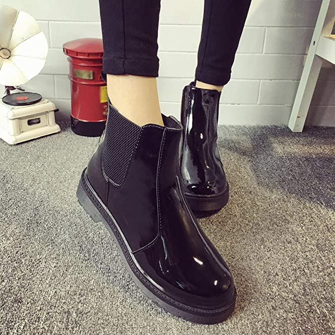 Amazon.com   Sunmoot Patent Leather Chelsea Ankle Boots Women Vintage Round Toe Flat Slip-On Shoes   Shoes