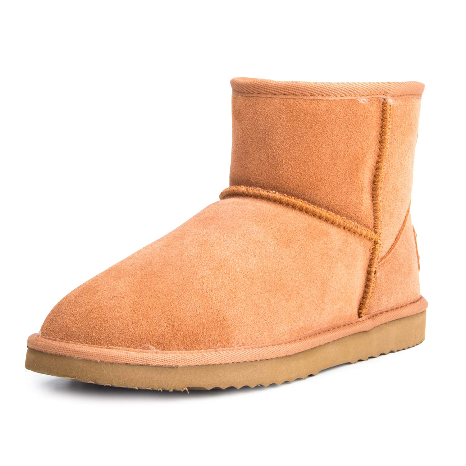 Chestnut(f54) Ausland--Women's Half Snow Boots, with Water-Resistant Vamp, Thick Fur Lining and Lightweight Rubber Sole