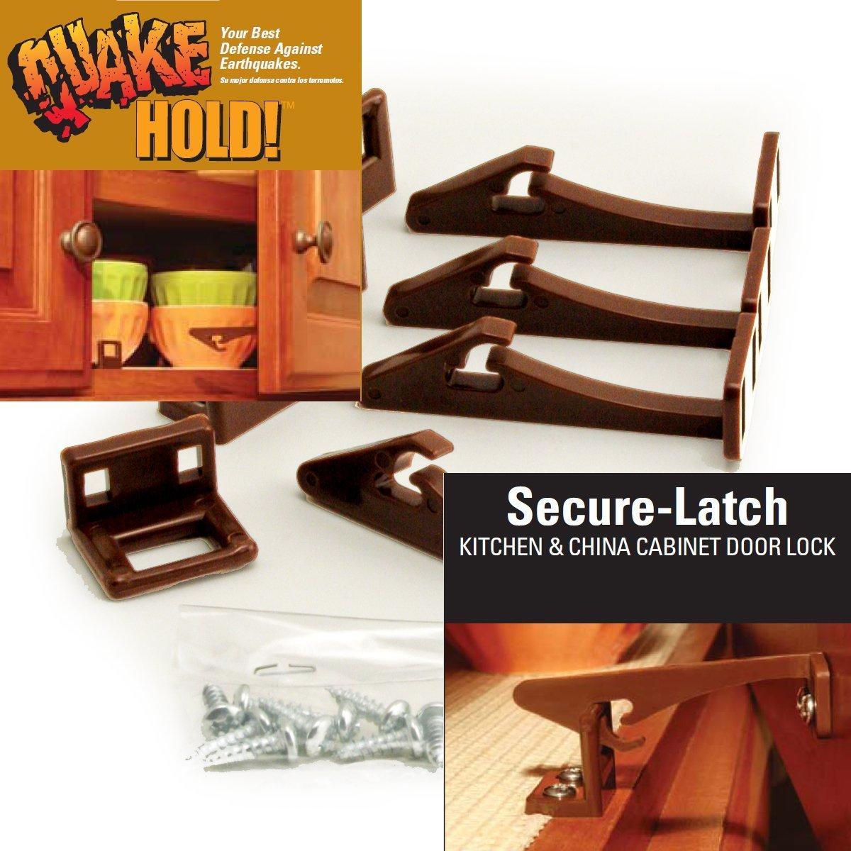 Quake Hold! Secure-Latch Kitchen & China Cabinet Door Locks ...