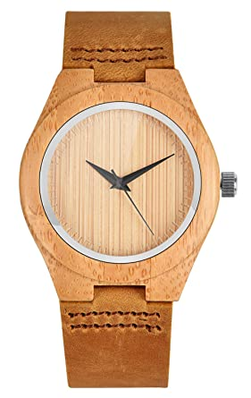 Armbanduhr damen leder braun  Mecan Damen Holz Armbanduhr Naturholz Bambus Uhr Retro Quarz ...