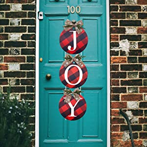 WOJOGO Christmas Decorations Joy Sign, Buffalo Check Plaid Wreath for Front Door Holiday Yard Sign Decor for Home Indoor Outdoor