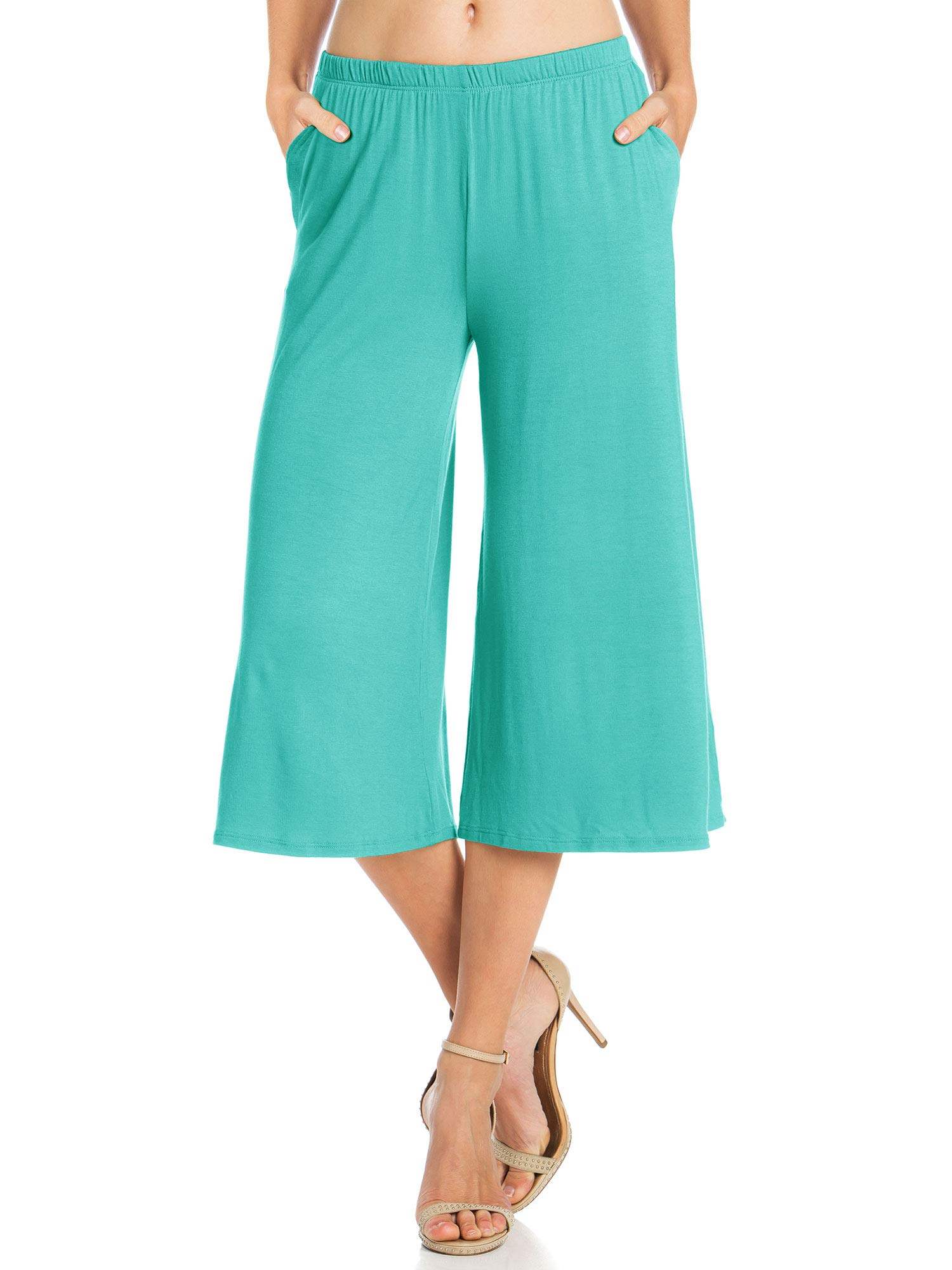Fashion California Womens 1 Pack Elastic Waist Jersey Culottes Capri Pocket Pants (XXXXX-Large, Aqua)