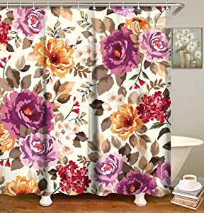 LIVILAN Floral Shower Curtain, Abstract Purple Flowers Fabric Bathroom Curtains Set with Hooks Summer Blossom Bathroom Decor 72x72 Inches Machine Washable