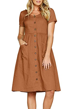 05edc1e1a2a Valphsio Women's Summer Short Sleeve V Neck High Waist Button Swing Midi  Dress with Pockets