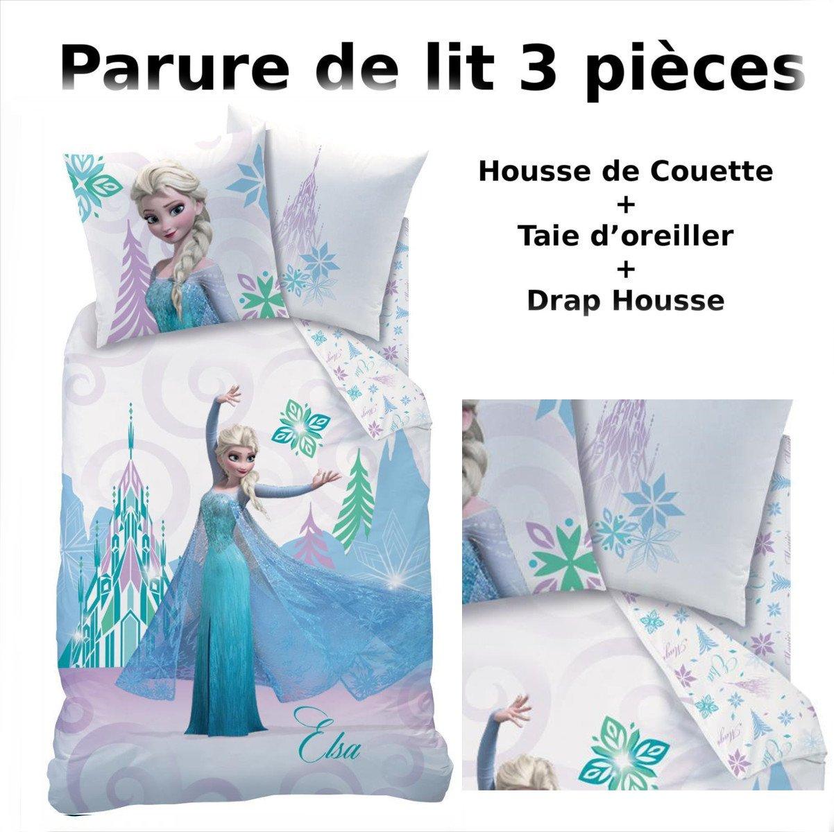 REINE DES NEIGES - Parure de lit (3pcs) - Housse de Couette (140x200) + Taie  d Oreiller (63x63) + Drap housse (90x190) - 100% Coton - Imprimé Arabesque   ... 7ddfcd7120bc