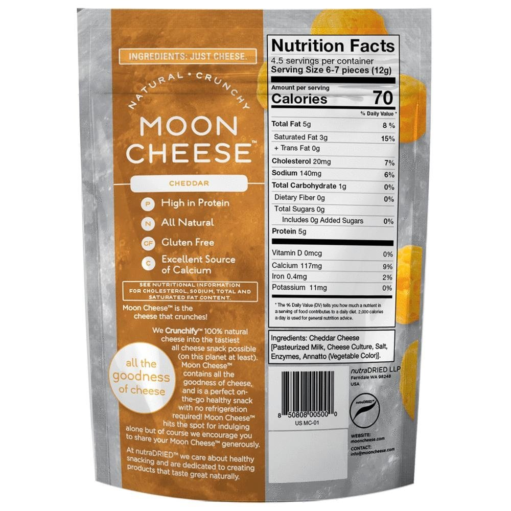 Moon Cheese, Pack of 12, Assortment (Cheddar, Gouda, Pepperjack, Sriracha), 100% Cheese and Gluten Free, 2 OZ Bags by Moon Cheese (Image #4)