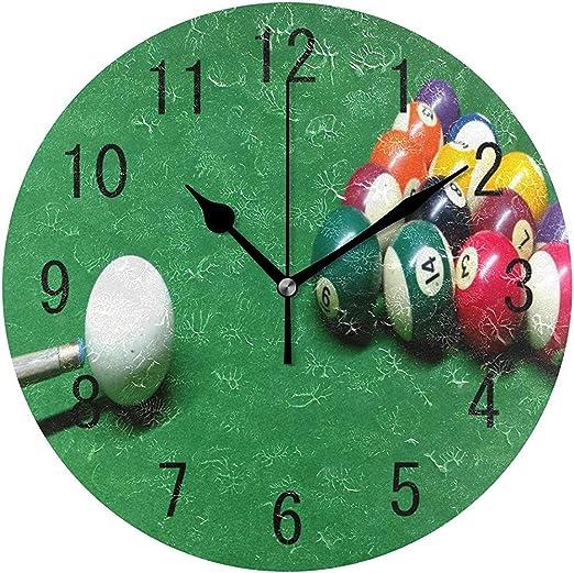 Decoración del hogar Bola de Billar Reloj de Pared Redondo Verde ...
