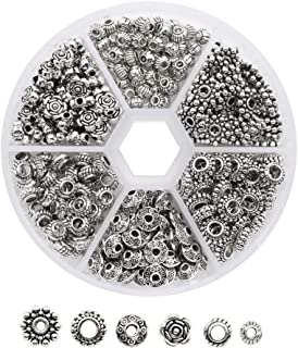 Dreamtop 1 Box 300 Pcs Tibetan Silver Metal Spacer Beads for Jewelry Making Finding