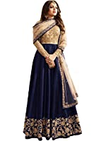 Ethnic Empire Blue Banglory Silk ANd Net Women's Long Semi Stitched Anarkali Salwar Suits(Ethnic_ER10802_Blue_Free Size)