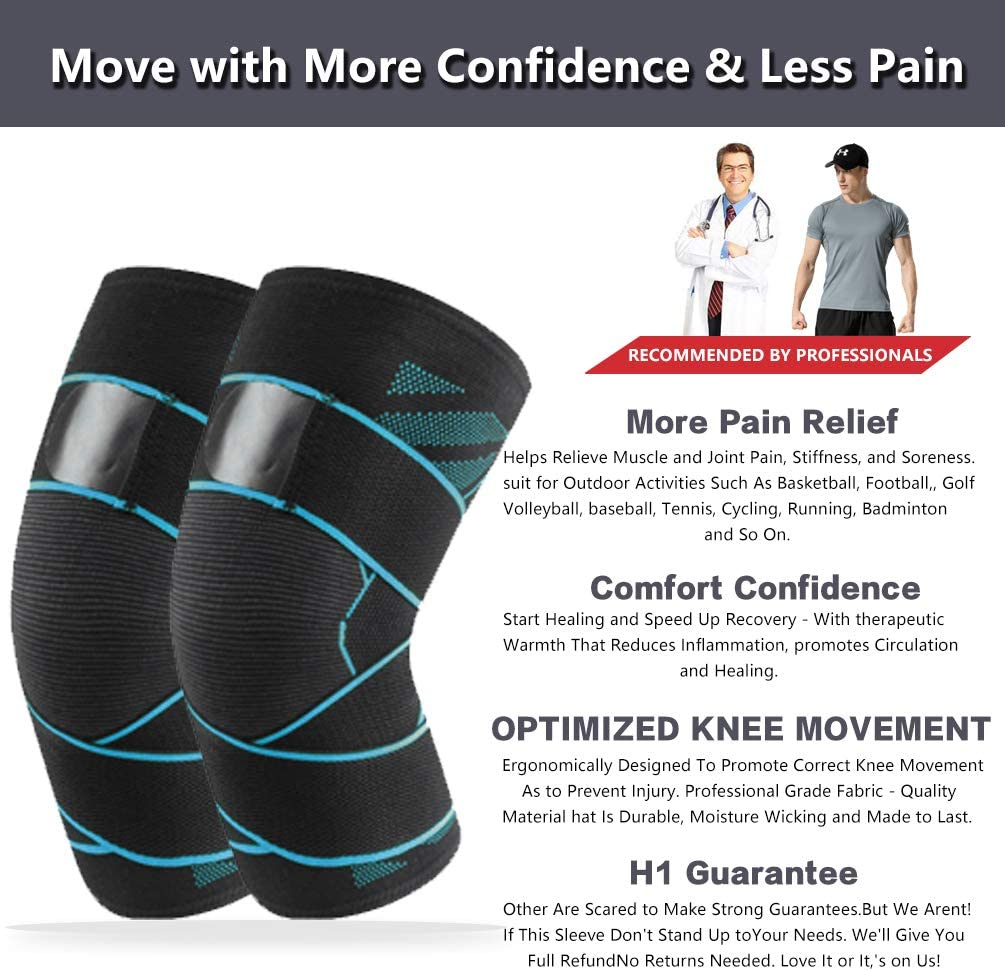 Meniscus Tear BITTERCHOCOLAT Knee Brace Support Compression Sleeve for Men and Women Arthritis Pain and Support Joint Pain Relief Injury Recovery,Volleyball,Running,Hiking and More Sports