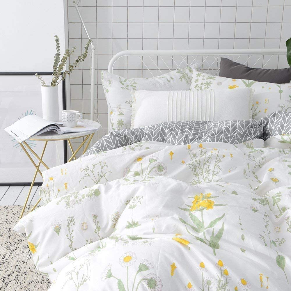 Vclife Floral Duvet Cover Sets Full Queen Bedding Sets White Yellow Flower Branches Design Bedding Duvet Cover Sets Cotton Comforter Cover Sets For All Season Queen Amazon Ca Home Kitchen