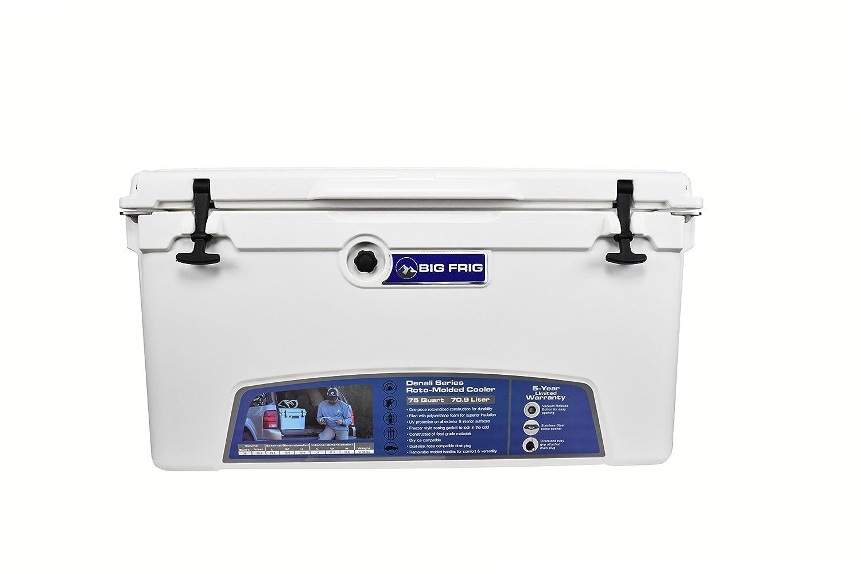 Big Frig White Denali Cooler (75 Quart) Bundle includes Cutting Board/Divider, Basket, 5 Year Limited Warranty