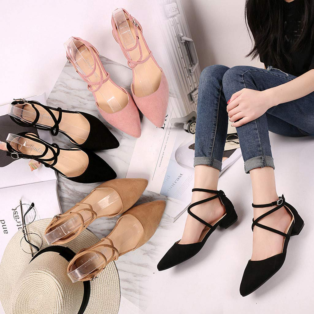 Lurryly Womens Fashion Casual Point Toe Buckle Strap Square Heel Sandals Med Heel Shoes