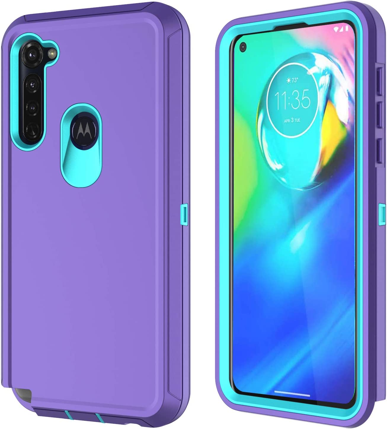 Annymall for Moto G Power, Moto G Stylus Case [with Built-in Screen Protector] Triple Layer Tough Shell Shockproof Phone Cover for Moto G Power/Moto G Stylus (Purple/Mint)