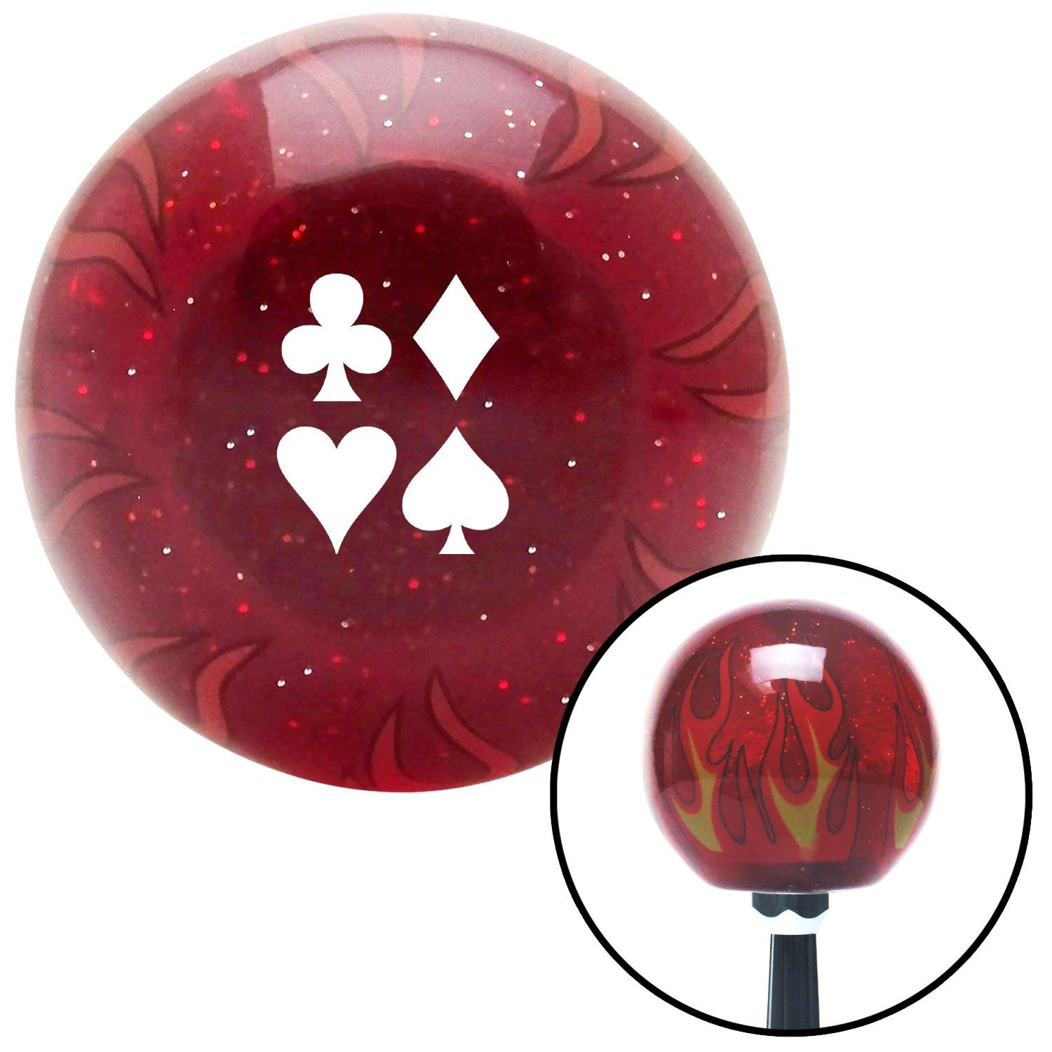 American Shifter 236560 Red Flame Metal Flake Shift Knob with M16 x 1.5 Insert White Clubs Diamond Heart Spades