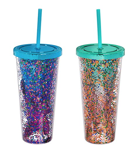 3a973ce0ff2 Mermaid Tail 12 OZ Acrylic Tumbler and Straw Set of 2-4 x 4 x 8 Inches