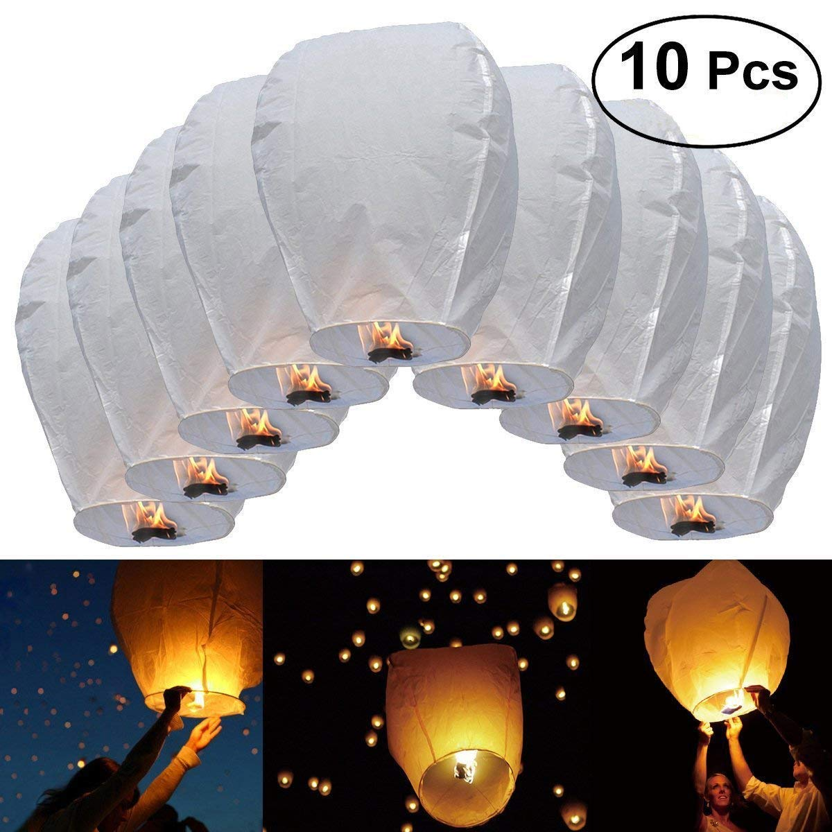 10 Blue Chinese Wishing Sky Lanterns for Special Occasions, Wedding, Birthday, Party, with Non drip Fuel Cell … with Non drip Fuel Cell ... Partyrama