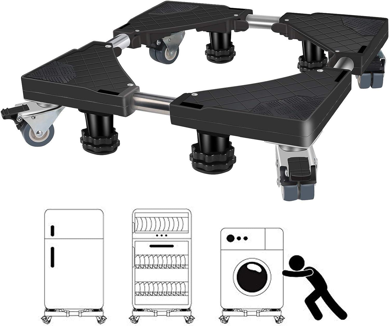 Winzwon Washing Machine Stand with 4 Wheels Swivel Casters Locking & 4 Lifting Feet Adjustable Dolly Mini Fridge Stand Base for Furniture Portable Refrigerator Dryer (Black)