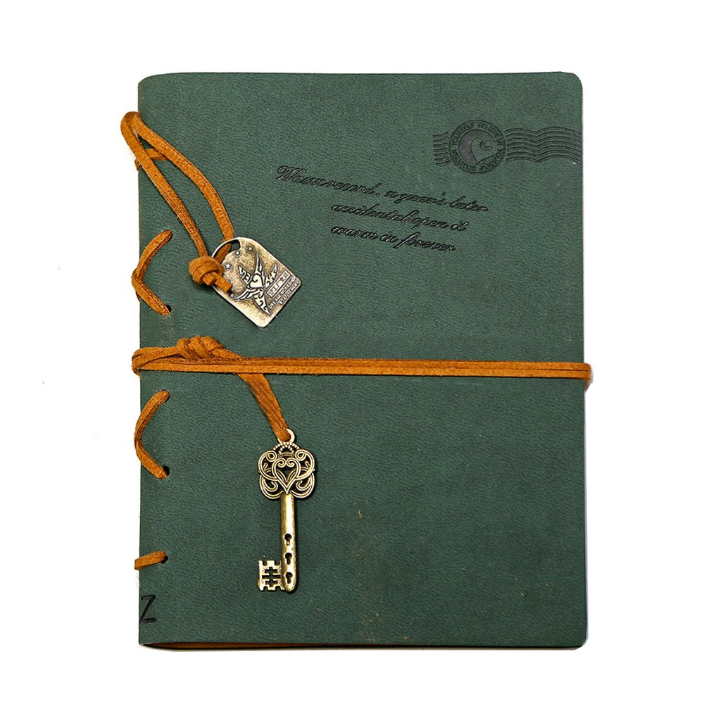 Dark Green EvZ 7 Inches Key Bound Retro Vintage Notebook Diary Sketchbook Gifts with Unlined Travel Journals to Write in for Girls and Boys Notepad Guest Book Leather Writing Journal Notebook