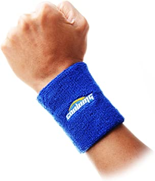 COOLOMG muñequera para el sudor impreso algodón rizo 3,5 pulgadas Longitud Pulsera de tenis deportes 9 colores 1 par, azul: Amazon.es: Deportes y aire libre