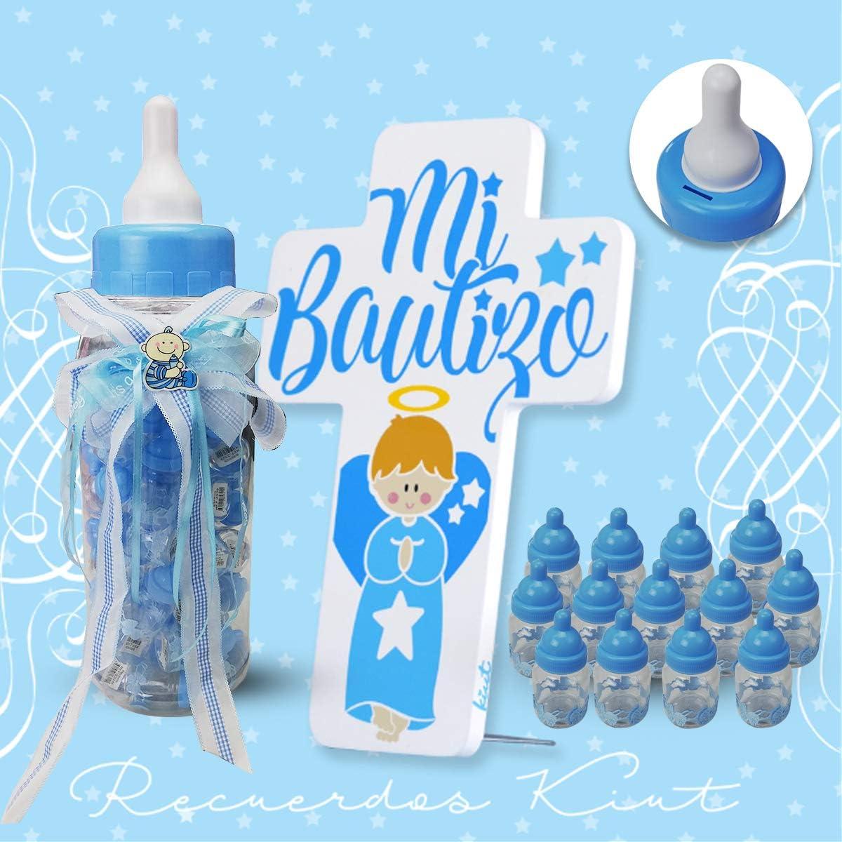Biberones de Bautizo Ni/ño,50 Peque/ños y 1 Grande de Regalo para Bautizo con Lazo Azul-Azul Grande