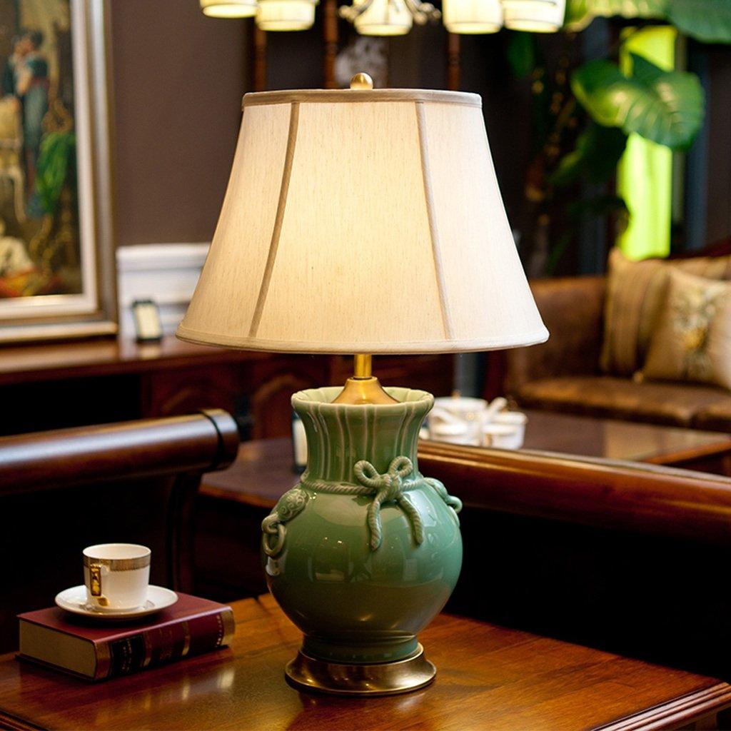 HZA Kreative American Country Mit Continental kreative keramische Tischlampe Kupfer Tischlampe Wohnzimmer Schlafzimmer Nachttischlampe Modell Zimmer Nachttischlampen