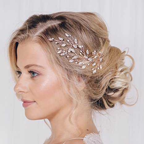 Review Artio Wedding Hair Pins Accessories with Crystals and Beads for Brides and Bridesmaids 3PCS (Silver)
