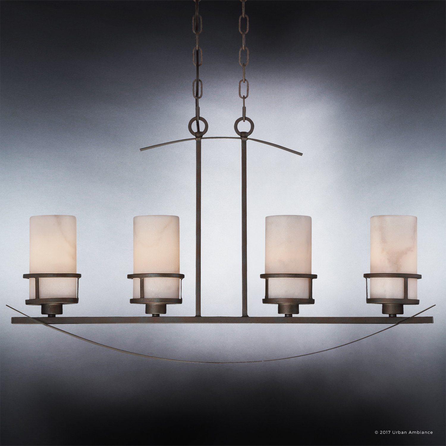 Luxury Rustic Chandelier, Large Size: 18.5''H x 32.5''W, with Craftsman Style Elements, Banded Wrought Iron Design, Forged Iron Finish and White Onyx Stone Shades, UQL2415 by Urban Ambiance by Urban Ambiance (Image #5)