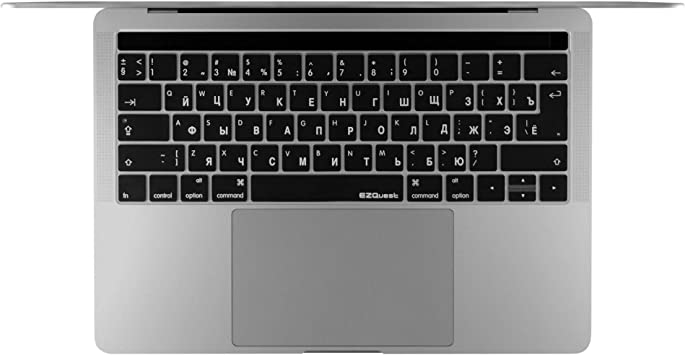 Russia US Enter Keyboard Cover Compatible for MacBook Pro 13 13.3 Inch No Touch Bar Model A1708,Black