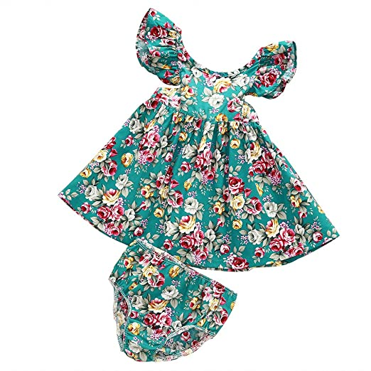 03c4507e8a0d Amazon.com  MIOIM Toddler Infant Baby Girls Summer Ruffled Floral ...