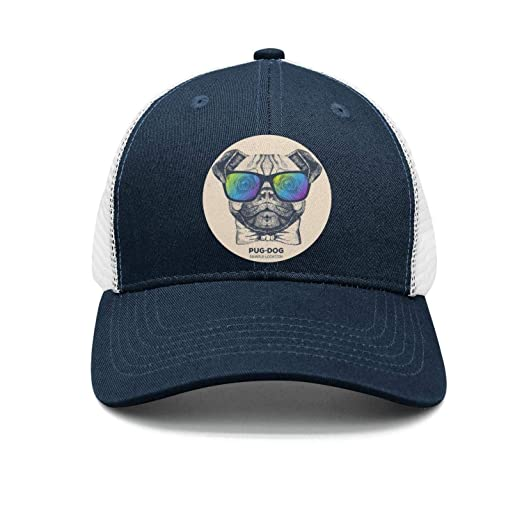 d296ce9eff362 Unisex Pug Dog Pugs Sunglasses Mesh Sandwich Mesh Baseball Cap Adjustable  Snapback Dad Hat