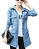 Denim Jacket Female Costume NEW Spring Summer Hole Vintage Womens Windbreaker Plus Size Casual Tops Cardigan