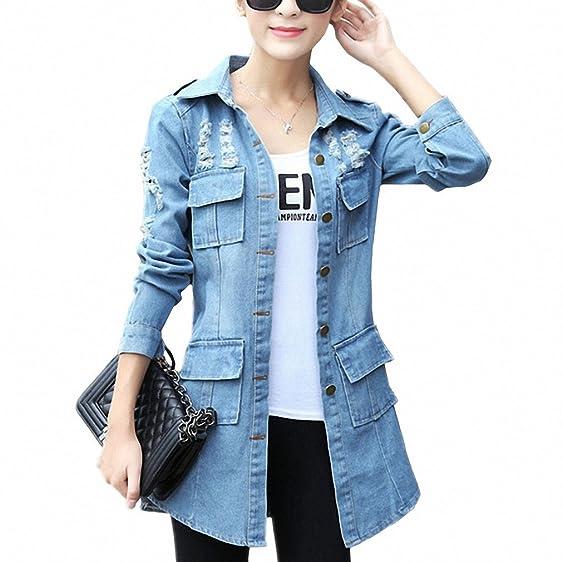 Denim Jacket Female Costume NEW Spring Summer Hole Vintage Womens Windbreaker Plus Size Casual Tops Cardigan