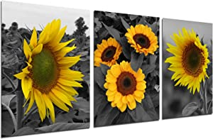Sunflower Wall Decor Painting Art - Black Yellow Flower Poster Farmhouse Canvas Floral Pictures Still Life Daisy Artwork Modern Decorations for Kitchen Bedroom Bathroom Living Room 12''x16'' unframed