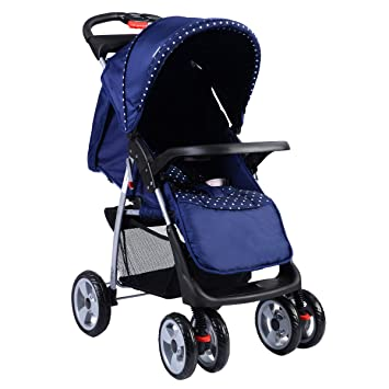 amazon com costzon baby stroller folding pushchair w canopy blue