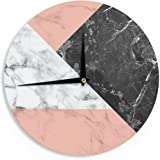 "KESS InHouse KESS Original ""Geo Marble and Coral"" Black Art Deco Wall Clock, 12"""