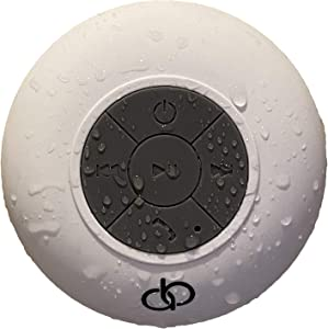 A&B Bluetooth Shower Speaker/Waterproof with Built in Microphone for Hands Free Calling/Wireless with Loud HD Sound/Water Resistant & Suction Cup / 6Hr Playtime / 33ft Range (White)