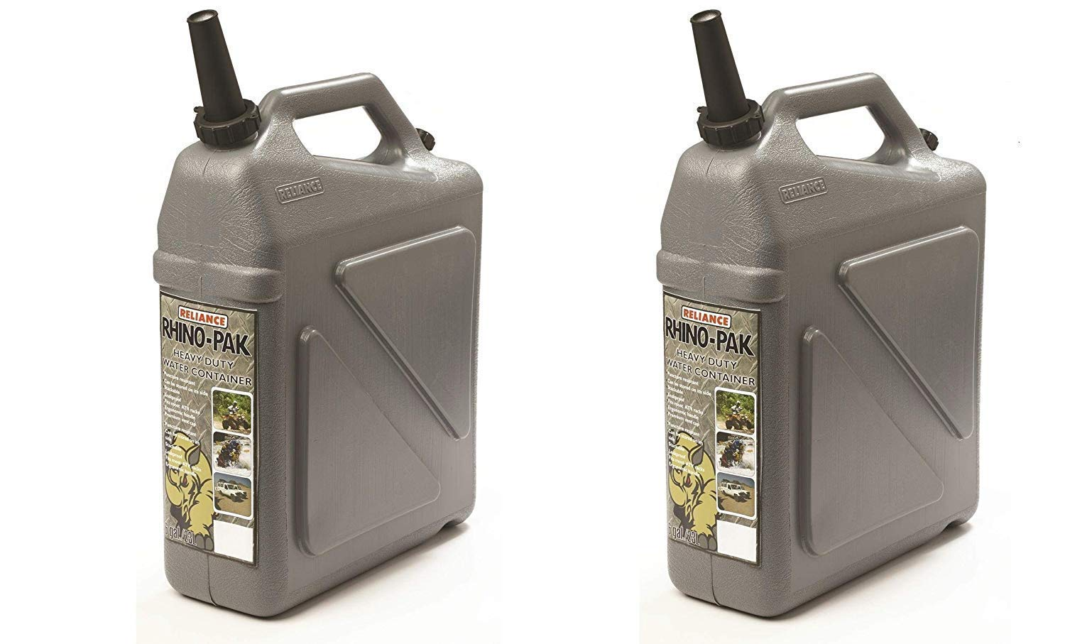 Reliance Rhino-Pak Heavy Duty Water Container (Grey, Medium) (Pack of 2) by Reliance Products