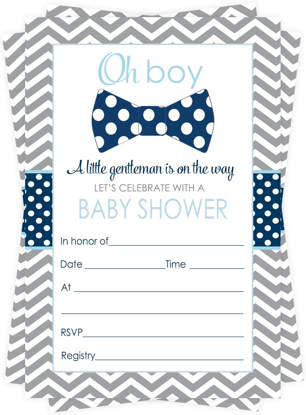 Amazon.com: Bow Tie Baby Shower Invitations (15 Guests) Little Man Party  Supplies – Oh Boy Sprinkle – Grey and Blue – Fill in Blank Style Invite  Cards and Envelope Set DIY: Health