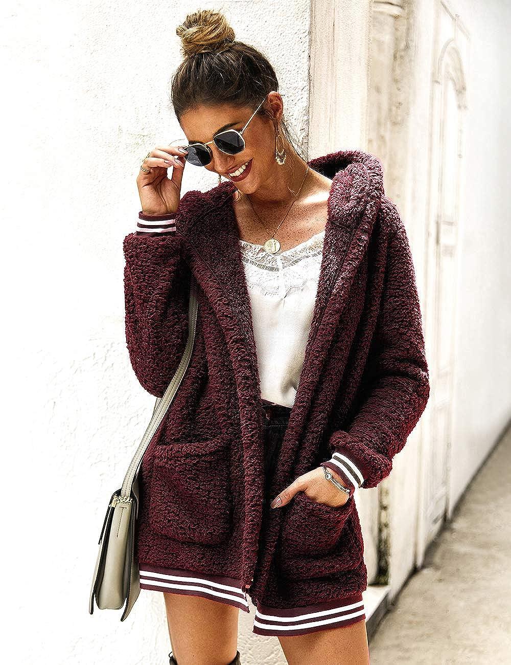 iWoo Womens Coat Fleece Hooded Jacket Open Front Long Sleeve Fuzzy Sherpa Loose Warm Cardigan with Pockets Outwear