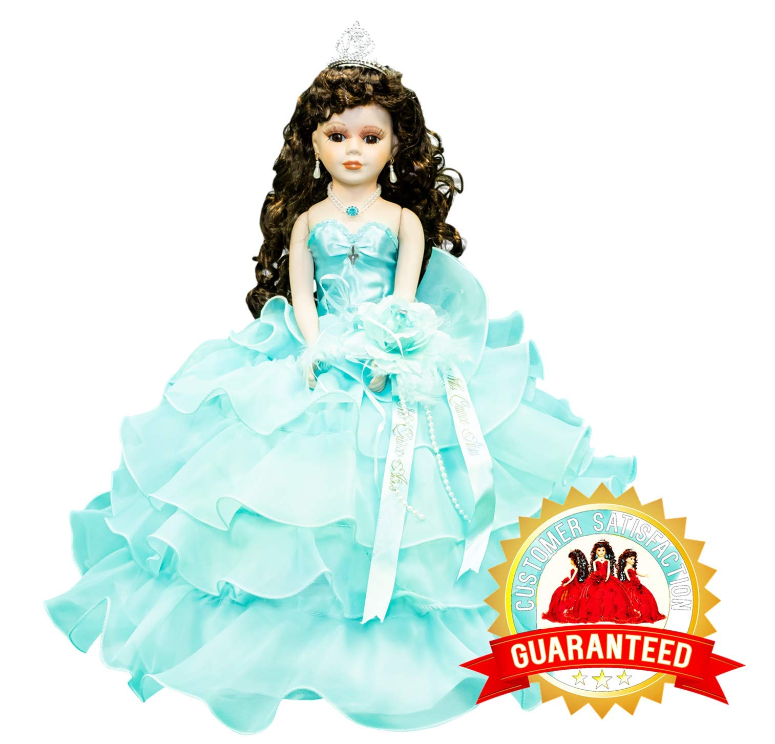 Kinnex Collections by Amanda 18'' Porcelain Quinceanera Umbrella Doll (Table Centerpiece) ~ Aqua ~ KW18728-23