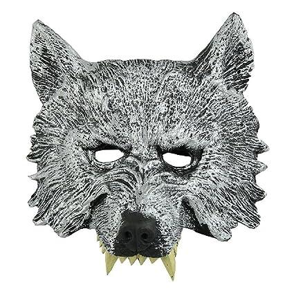 TOOGOO(R) Gris Mascara de cabeza de lobo para Cosplay Halloween Mascarada