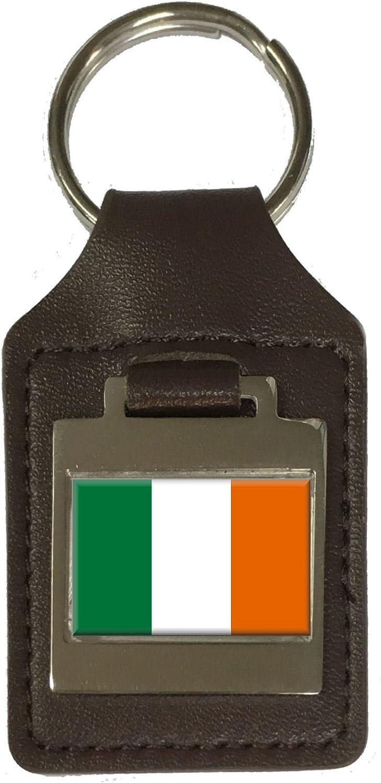 Leather Keyring Engraved /Éire Flag