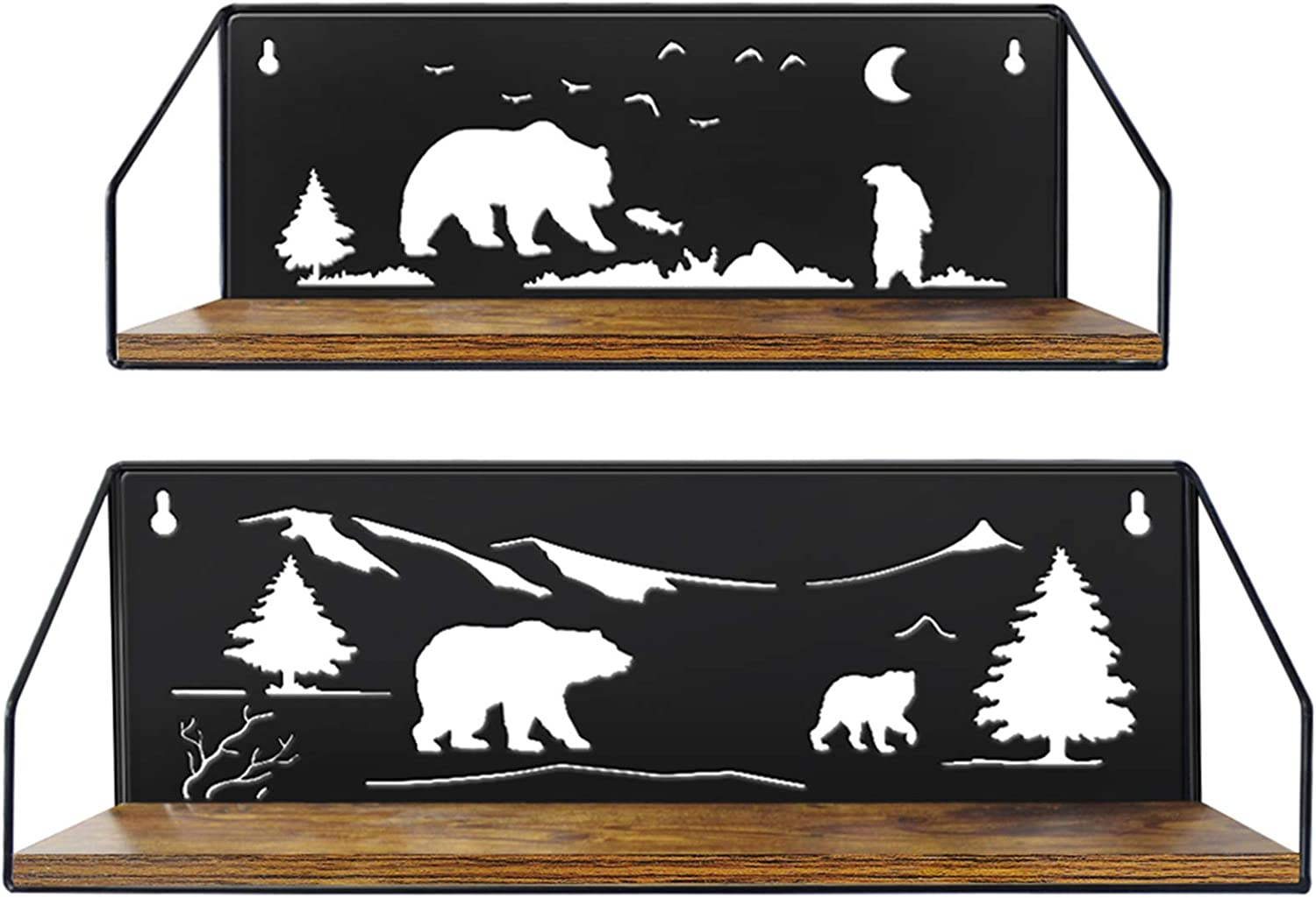 Giftgarden Floating Shelves for Wall with Unique Adorable Bears Cutouts, Rustic Wood Wall Storage Shelf Decor for Bathroom Bedroom Living Room Kitchen, Black, Set of 2