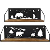 Giftgarden Floating Shelves for Wall with Unique Adorable Bears Cutouts, Rustic Wooden Iron Wall Shelf Bear Decor for Bathroo