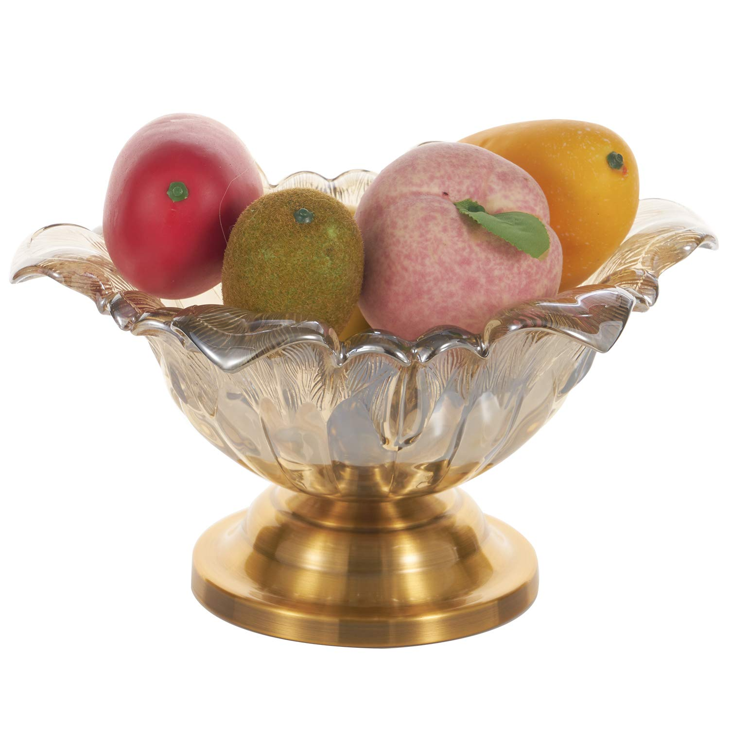 Glass Pedestal Bowl, Footed Compote Bowl, Serving Bowl, Trifle Bowl, Centerpiece Bowl, Decorative Fruit Display Stand Vase Candy Dish for Home Party Wedding Dining Room Decoration (Flower)