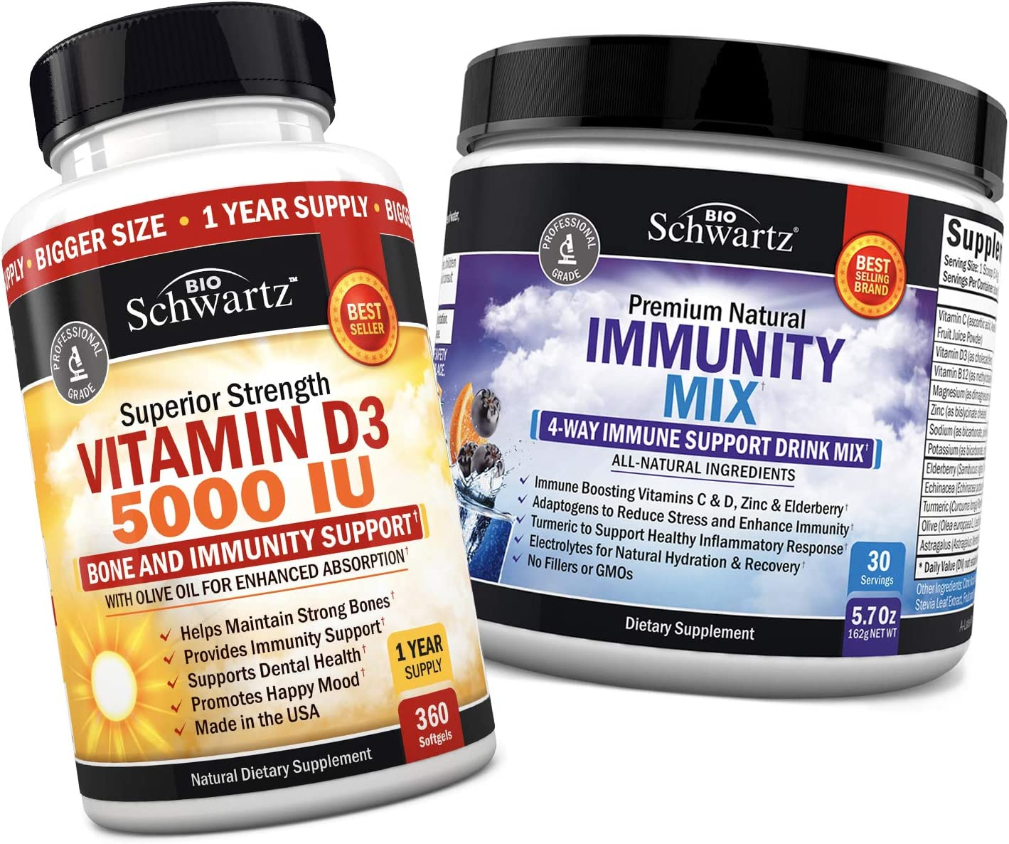 Vitamin D3 5,000 IU with Olive Oil for Maximum Absorption + Immunity Drink Mix with Vitamin C 1000 mg, Elderberry & Zinc - Berry Flavored Powder - for Healthy Immune, Mood, & Bone Support
