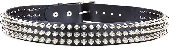 New Cheap Handmade In England Real Leather Pyramid Studded Stress Brown Belt