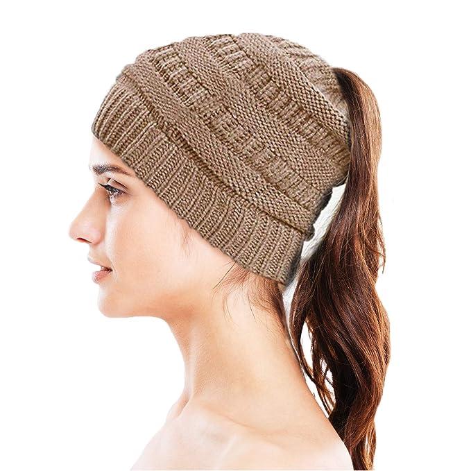 Tomiya Knit Beanie Hat - Stay Warm   Stylish - Ponytail Messy Bun Beanie -  Thick 9c58c750324