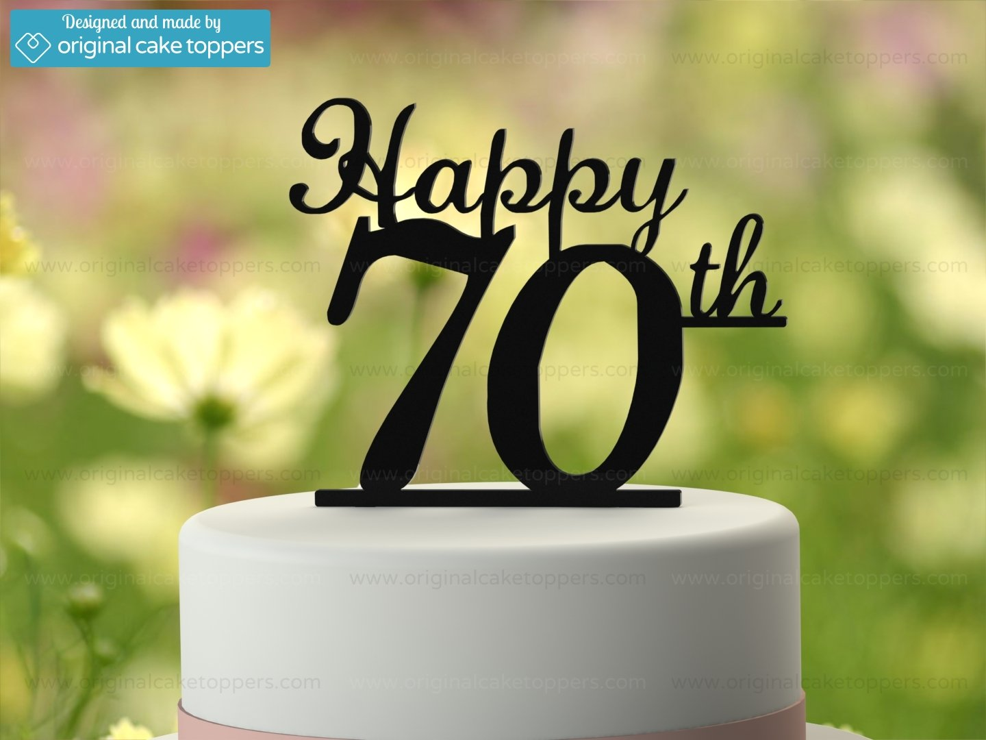 Amazon.com: Original Cake Toppers Happy 70th - White: Kitchen & Dining